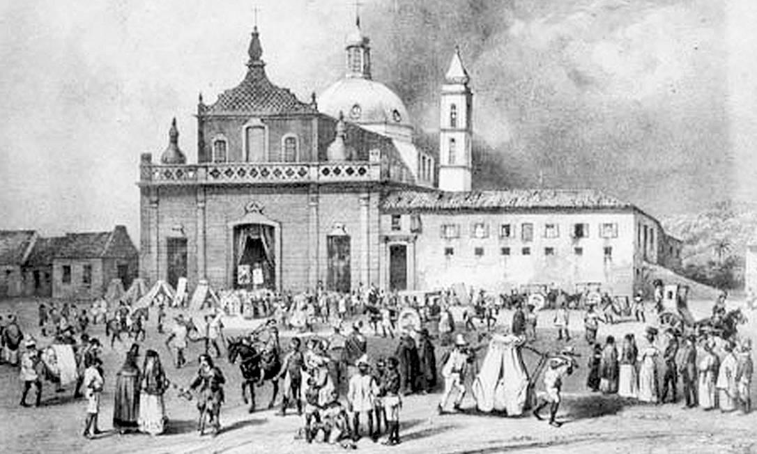 Escravos e brancos se misturam na Praça da Piedade, no Centro de Salvador, em gravura do século XIX: lugar foi o palco da Revolta dos Malês, que durou um dia Foto: Reprodução /