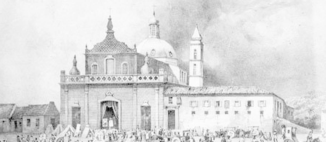 Escravos e brancos se misturam na Praça da Piedade, no Centro de Salvador, em gravura do século XIX: lugar foi o palco da Revolta dos Malês, que durou um dia Foto: Reprodução