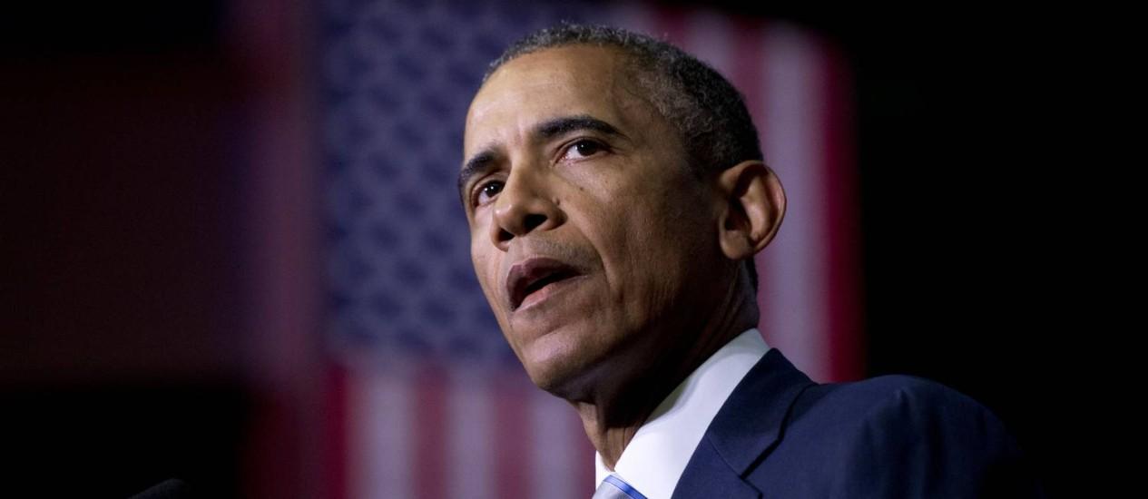 Barack Obama fala no dia 9, dois dias após o ataque ao 'Charlie Hebdo': ausência de principais representantes dos EUA foi notada Foto: Carolyn Kaster / AP