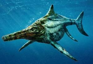 Reprodução artística do suposto réptil descoberto pelo estudo Foto: Divulgação