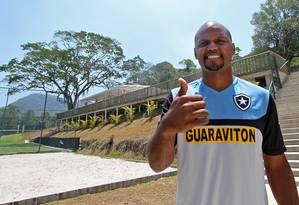 Jefferson no treino do Botafogo nesta segunda-feira Foto: Vitor Silva / SSPress
