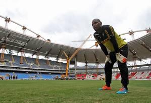 O goleiro Jefferson treina no Engenhão. Grupo de botafoguenses quer mudar o nome do estádio para Nilton Santos Foto: Vitor Silva / SSPress / divulgação