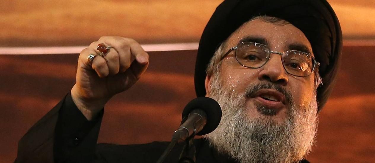 Xeque Hassan Nasrallah. Líder do Hezbollah afirmou que ataques israelenses na Síria serão retaliados Foto: Hussein Malla / AP