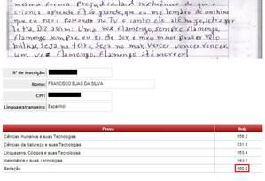 Rascunho mostra trecho em que hino do Flamengo foi incluído Foto: Arquivo Pessoal