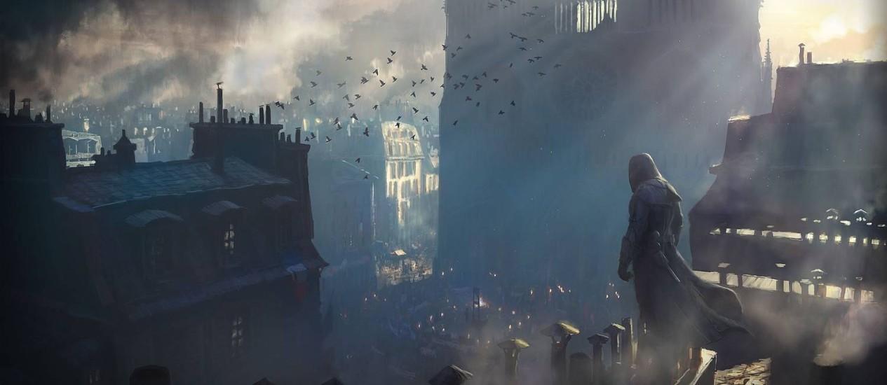 """A Paris da Revolução Francesa retratada em """"Assassin's Creed: Unity"""": jogo causou controvérsia ao retratar Robespierre, um dos líderes do movimento, como psicopata sedento de sangue e execuções Foto: Divulgação"""