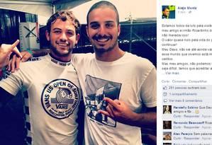 Alejo Muniz lamenta a morte de Ricardinho. O surfista passou por quatro cirurgias, mas não resistou aos ferimentos Foto: Reprodução do Facebook