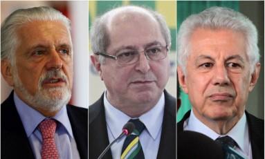 Jaques Wagner, Paulo Bernardo e Arlindo Chinaglia são indicados para testemunhar a favor de empreiteiro Foto: Montagem / O Globo