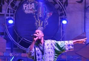 O músico nigeriano Femi Kuti no palco do New Afrika Shrine, em Lagos Foto: Guilherme Freitas