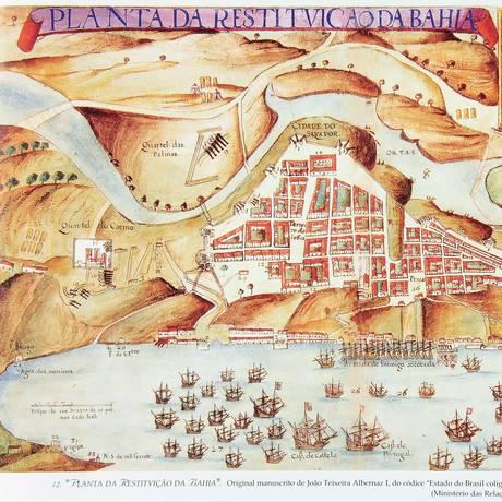 Mapa com planta da cidade de Salvador, invadida pelos holandeses em 1624 Foto: Biblioteca Nacional / .
