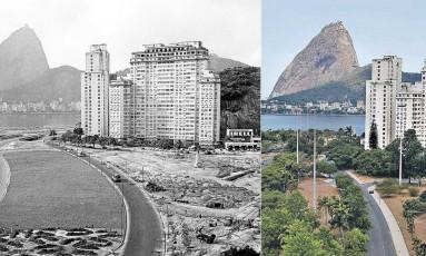 O Aterro do Flamengo em 1065 e hoje Foto: O Globo
