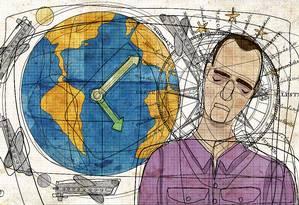 Aplicativo promete monitorar padrões do corpo para aliviar o jet lag. Foto: André Mello / Editoria de Arte / O Globo
