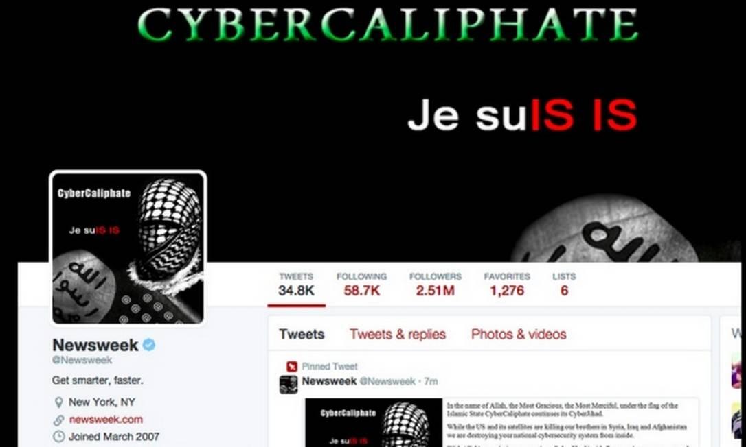 """Conta da revista """"Newsweek"""" foi alvo de ataque cibernético do grupo conhecido como """"Cibercalifado"""" nesta terça-feira Foto: Reprodução/Twitter"""