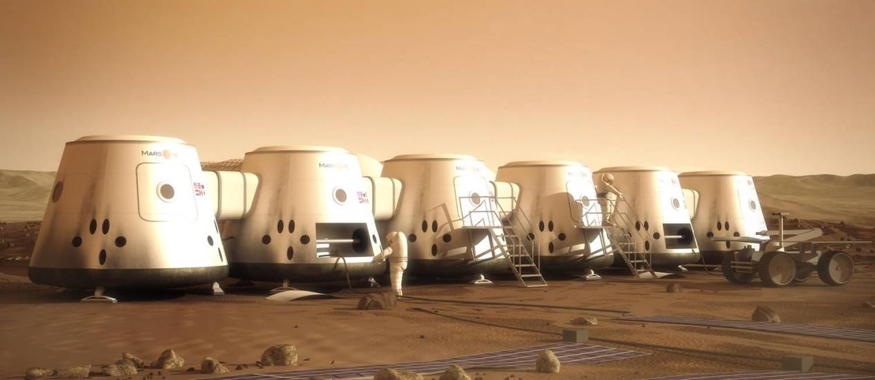 Ilustração mostra a colônia em Marte que a Mars One pretende construir Foto: Divulgação/Mars One