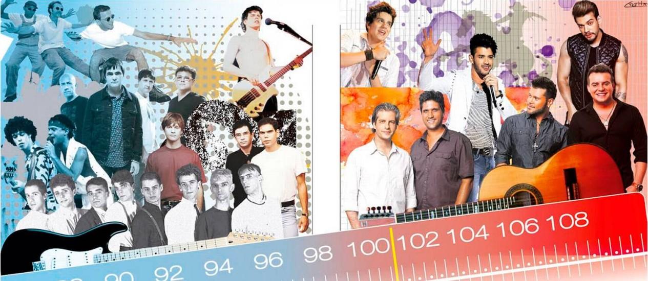 Roqueiros perderam a vez para representantes do sertanejo e funk Foto: Arte O GLOBO