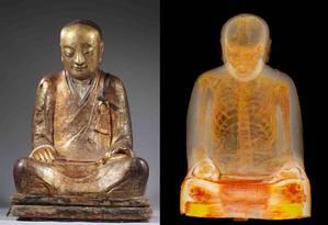 Múmia de monge é encontrada dentro de estátua budista Foto: Divulgação/Museu Drents