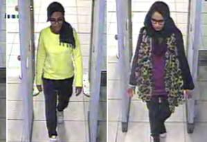 Imagens de câmera de segurança mostram Kadiza Sultana, Amira Abase e Shamima Begum no Aeroporto de Gatwick, em Londres Foto: AFP