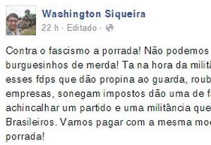 Postagem do prefeito de Maricá, Washington Quaquá (PT-RJ), sobre confronto em evento a favor da Petrobras na sede da ABI Foto: Reprodução do Facebook