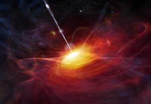 Ilustração mostra um quasar, galáxia com um buraco negro supermaciço em seu núcleo emitindo enormes quantidades: objeto recém-descoberto é grande demais para ser explicado pelas atuais teorias Foto: ESO/M. Kornmesser