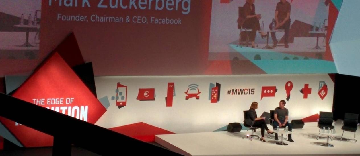 Zuckerberg na apresentação: mesmos assundos do ano passado levaram a debandada do público Foto: Thiago Jansen