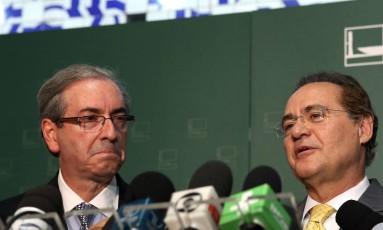 Cunha e Renan foram avisados de que estão na lista de políticos de Janot Foto: Givaldo Barbosa / Agência O Globo