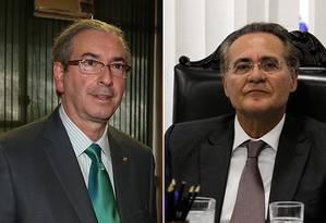 Os presidentes da Câmara, Eduardo Cunha, e do Senado, Renan Calheiros Foto: Arquivo O Globo
