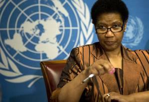 A chefe da agência das Nações Unidas para a promoção da igualdade para as mulheres, Phumzile Mlambo-Ngcuka Foto: Anja Niedringhaus / AP