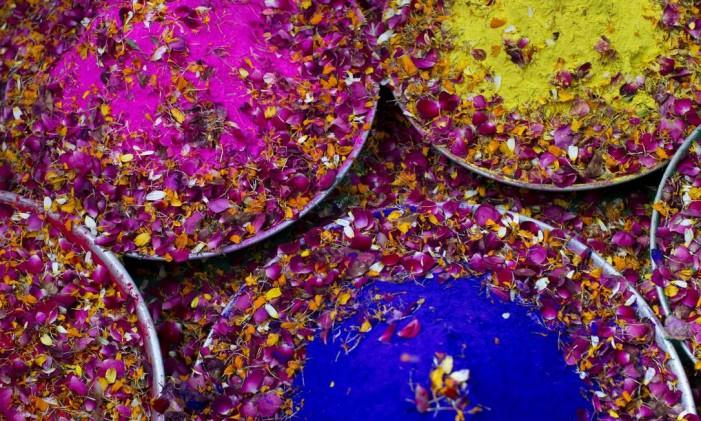 Bandejas com pó colorido e pétalas de flores são usadas pelas viúvas para celebrar o Holi no templo Widow, em Vrindavan, Índia Foto: Bernat Armangue / AP