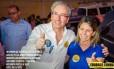 Foto postada no facebook do deputado Eduardo Cunha (PMDB-RJ), na campanha eleitoral de 2014, em que ele aparece com Solange Almeida, então prefeita de Rio Bonito