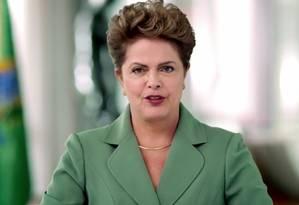 A presidente Dilma Rousseff durante pronunciamento pelo Dia Internacional da Mulher Foto: Reprodução