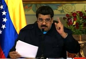 Presidente Nicolás Maduro em pronunciamento na TV venezuelana: 'Não se pode confiar nos Estados Unidos' Foto: Reprodução / Reprodução