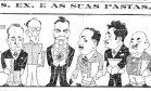 """Corrupção. Na charge de Theo intitulada """"S. Ex. e as suas pastas..."""", o presidente Washington Luís aparece ao lado de ministros Foto: 15/11/1926 / Acervo O GLOBO"""