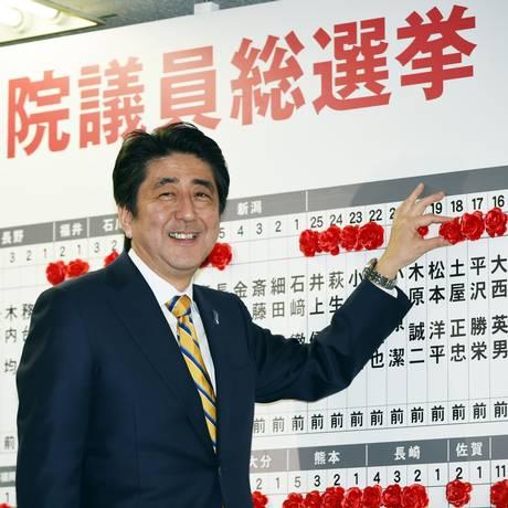 O primeiro-ministro japonês Shinzo Abe Foto: TOSHIFUMI KITAMURA / AFP