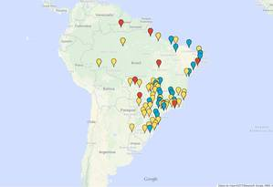 Mapa com as manifestações pelo país Foto: Reprodução