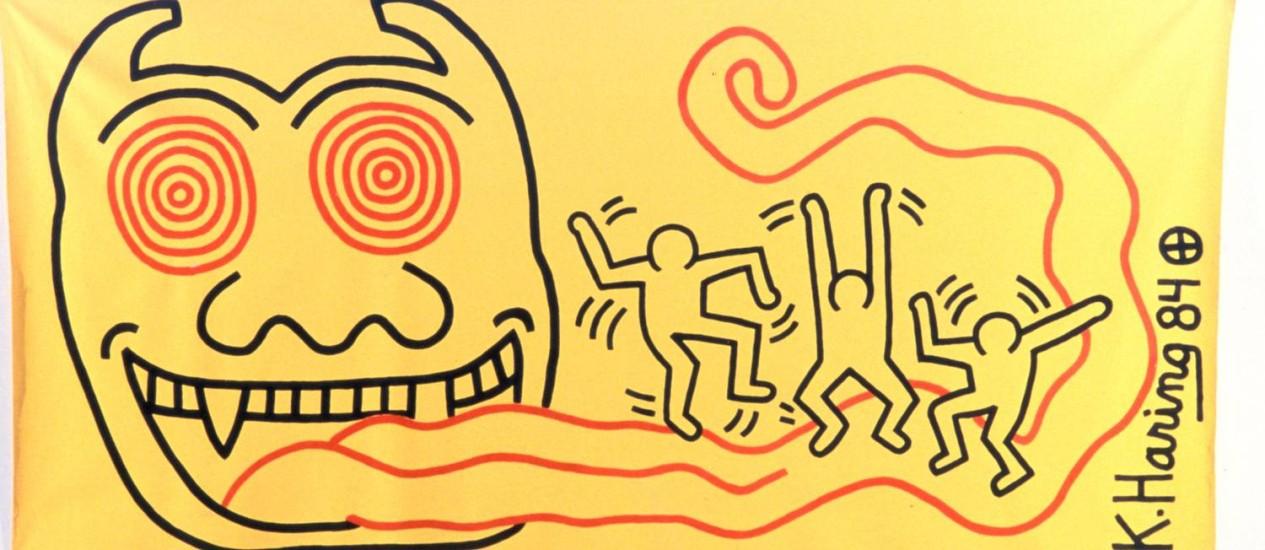 Obra de Keith Haring doada pelo artista em 1984 ao MAM, uma das 70 peças na exposição Foto: Divulgação