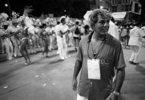 Capitão Guimarães durante o desfile do Unidos da Tijuca no Sambódromo, em 1988, quando era Presidente da LIESA Foto: Ricardo Beliel / Agência O Globo