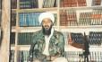 Bin Laden em seu esconderijo no Afeganistão, durante gravação de comunicado em vídeo