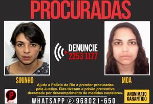 Elisa Quadros Pinto Sanzi, a Sininho; e Karlayne Morais Pinheiro, a Moa Foto: Reprodução