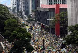 Manifestação em São Paulo contra o governo do PT Foto: Fernando Donasci (15/03/2016) / Agência O Globo