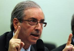 O presidente da Câmara, Eduardo Cunha, durante depoimento na CPI da Petrobras na Câmara Foto: Givaldo Barbosa / Agência O Globo