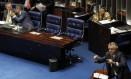 Líder do DEM no Senado, Ronaldo Caiado (GO), criticou o trecho que trata do financiamento da Saúde do Orçamento Impositivo Foto: Givaldo Barbosa / Agência O Globo