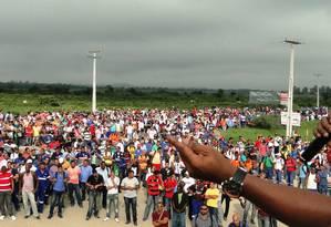 Fim da greve da Comperj Foto: Wagner Sales/Divulgação