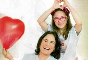 Regina Duarte com Joana Mocarzel na campanha pelo Dia Internacional da Síndrome de Down Foto: Divulgação