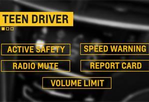 Limitar volume do rádio e a velocidade máxima do carro são algumas das funções do Teen Driver que estreia no Chevrolet Malibu Foto: Divulgação
