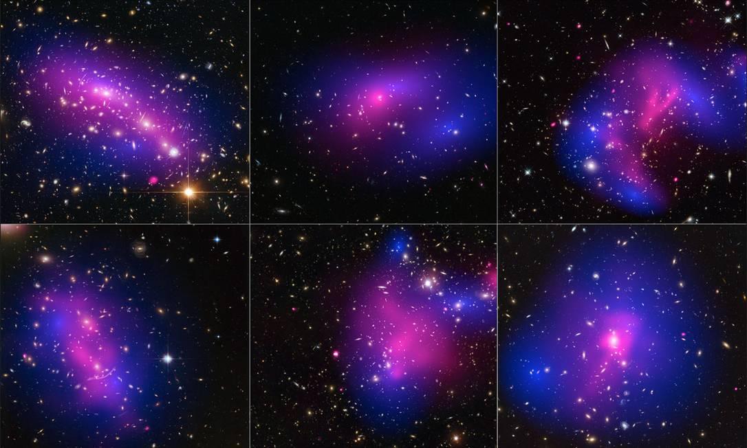 Colagem de seis das 72 colisões de aglomerados de galáxias usadas no estudo combina as observações em luz visível do Hubble com as em raios x do observatório espacial Chandra que mostram os efeitos dos choques nas estrelas e gases contidos nas galáxias (em rosa) e nas suas respectivas concentrações de matéria escura (em azul) Foto: / Nasa/ESA