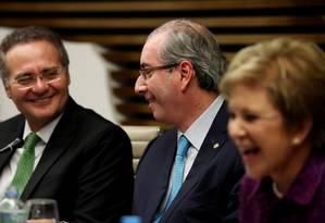 Renan Calheiros (à esquerda), Eduardo Cunha e Marta Suplicy na Fiesp Foto: Fernando Donasci / Agência O Globo
