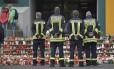 Bombeiros na escola Joseph-Koenig, em Haltern