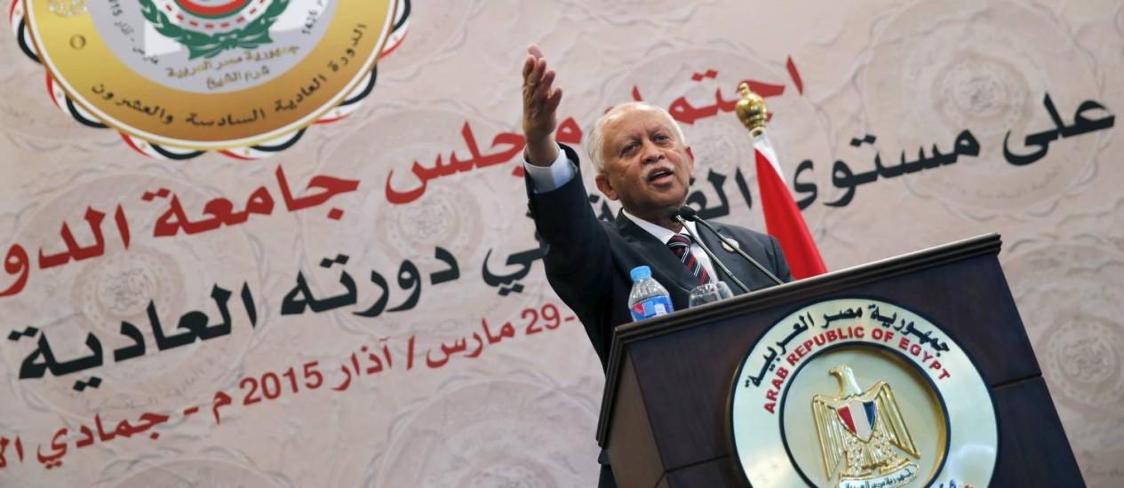 Chanceler Riyadh Yaseen fala em cúpula da Liga Árabe no Egito Foto: AMR ABDALLAH DALSH / REUTERS