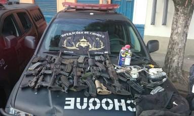 O material apreendido no Morro da Mangueira Foto: Polícia Militar / Divulgação