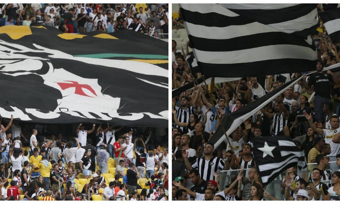 Torcidas de Vasco e Botafogo no Maracanã, clássico da 13ª rodada do Carioca de 2015 Marcos Tristão / Agência O Globo