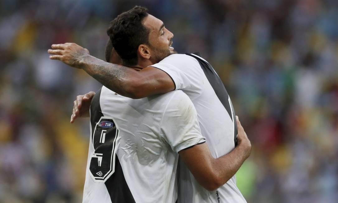 Gilberto (9) festeja o gol que abriu o placar para o Vasco contra o Botafogo no Maracanã Marcos Tristão / Agência O Globo